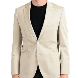"Hugo Boss ""Janson3"" Mens Beige Stretch Blazer Coat"